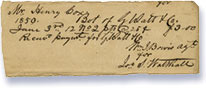 Receipt signed by William James Bowis for Henry Cox